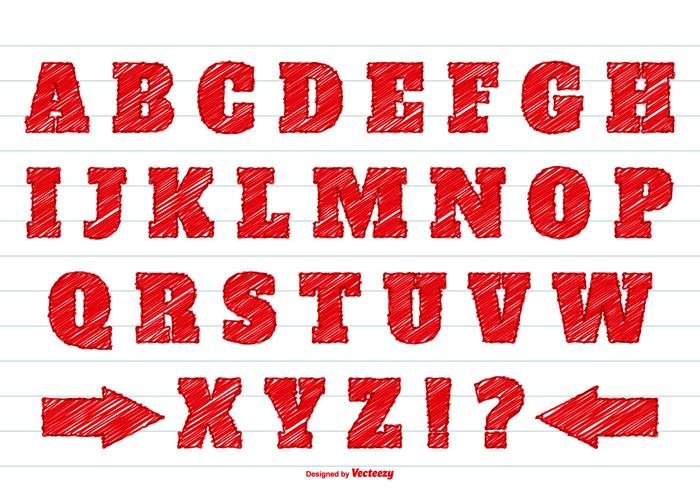 Red Scribble Style Alphabet Set vector