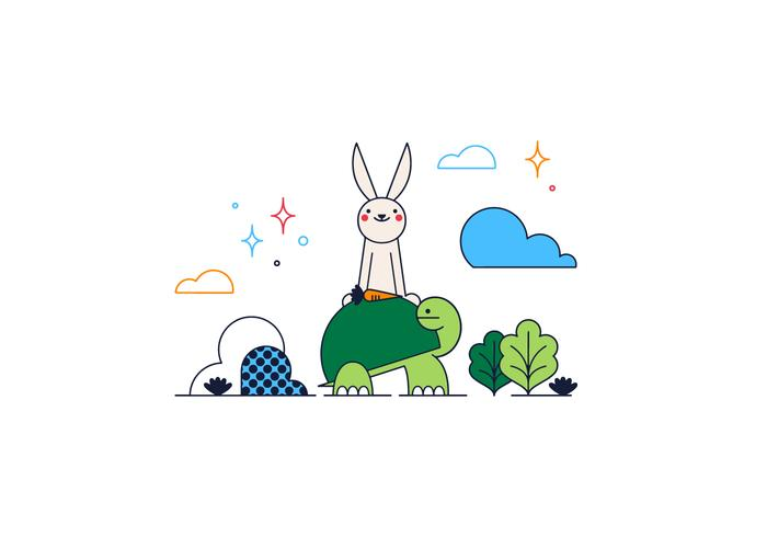 Turtle And Rabbit Vector