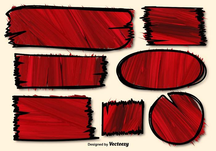 Red Vector Hand-drawn Textured Banners