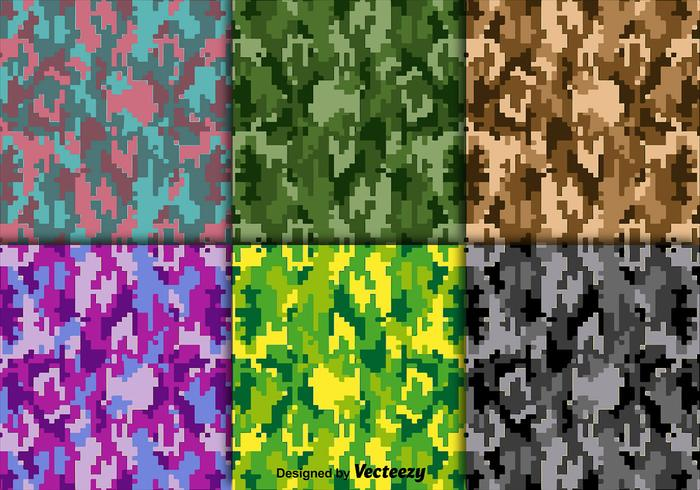 Bright Vector Digital Camouflage Texture Set