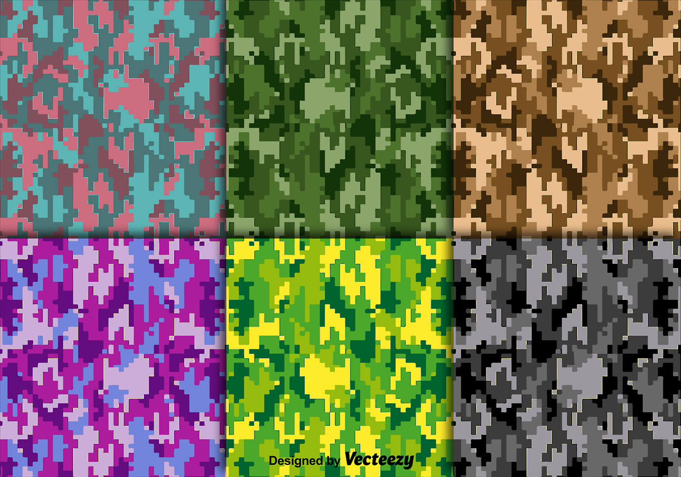 Bright Vector Digital Camouflage Texture Set Download