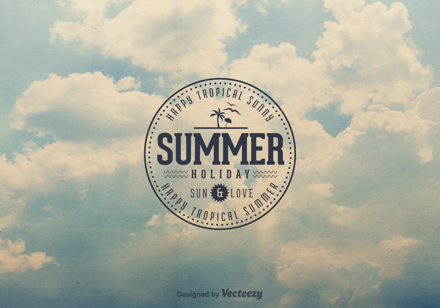 Free Retro Summer Sky Vector Background