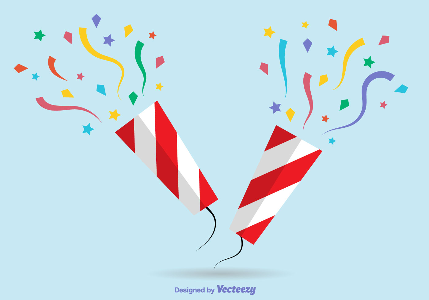 Colorful Flat Party Poppers Download Free Vector Art