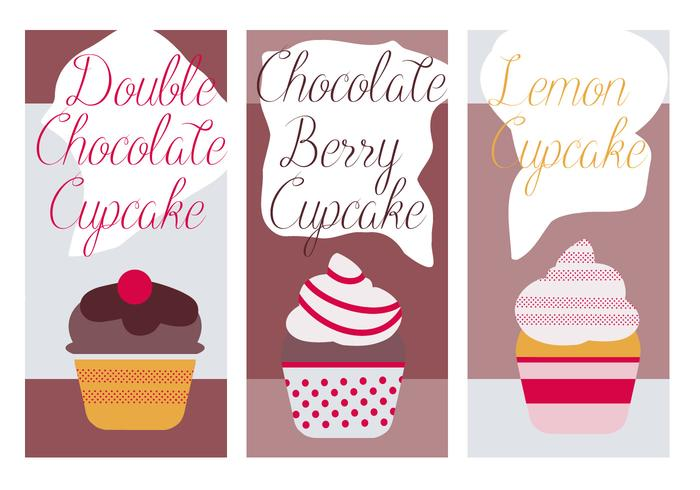 Cute Cupcakes Vector Background