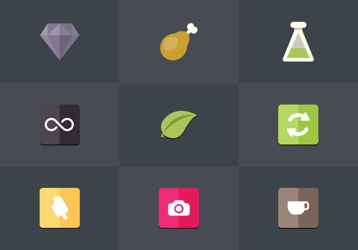 Gratis Flat Icon Set 11 Vector