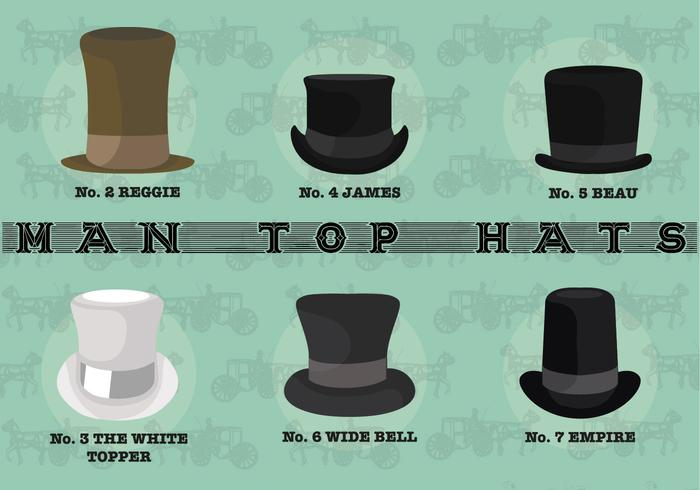 Free Man Top Hats Vektoren