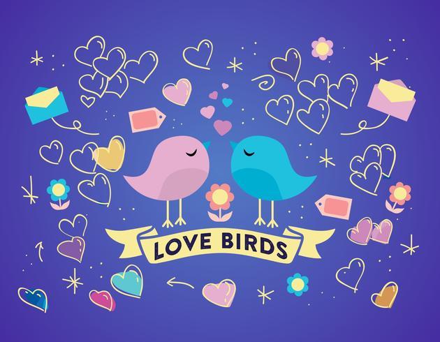 Gratis Love Birds Vector Bakgrund