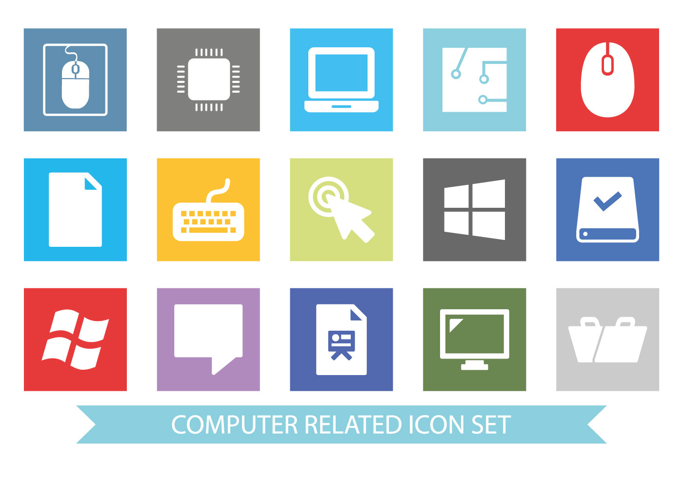 computer accessories icon set download free vector art