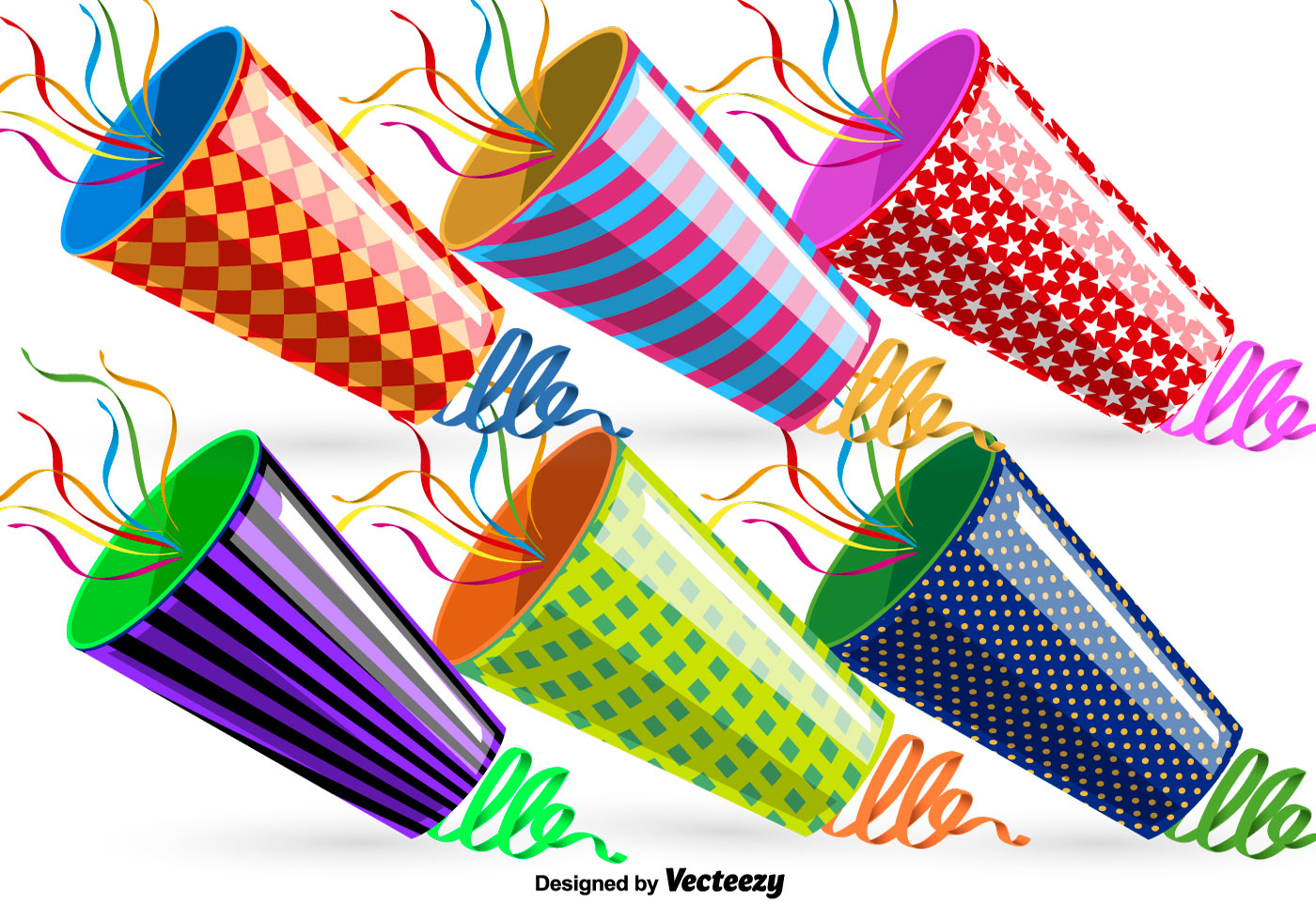 vector party poppers set download free vector art stock