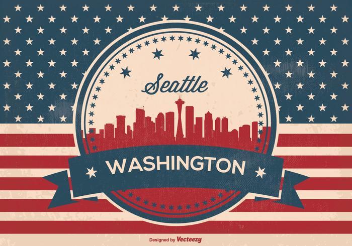 Retro Seattle Washington Skyline Illusrtation
