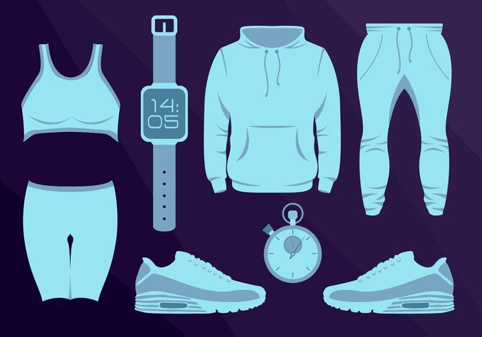 Sport Wear Equipament Running Vector Illustration