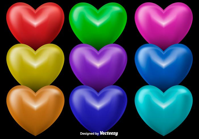 3D Shiny Hearts, Set Of 9 Colorful Hearts