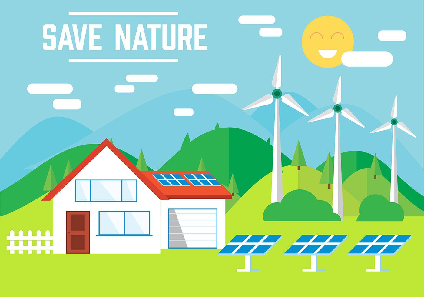 Free Eco Landscape Vector Illustration Download Free