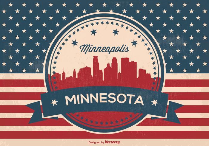Ilustração retro do horizonte de Minneapolis