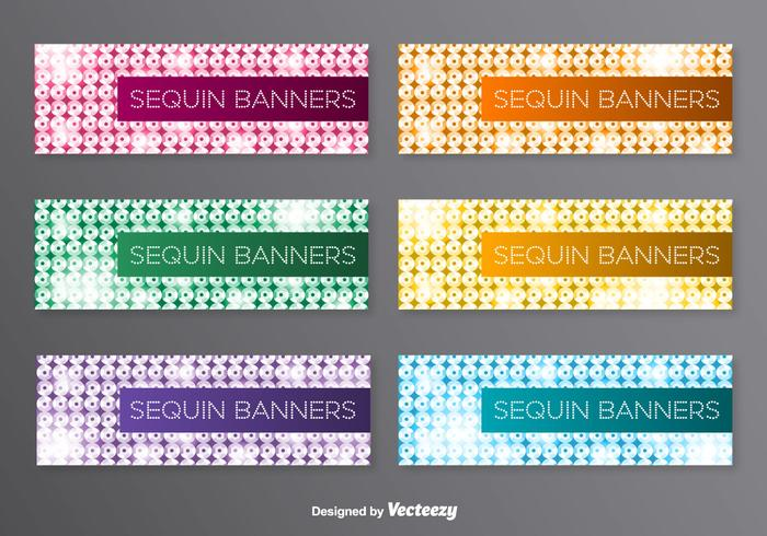 Vector Banners With Colorful Sequins Background