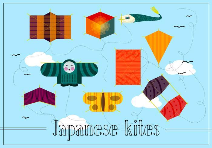 Vector libre japonés cometas