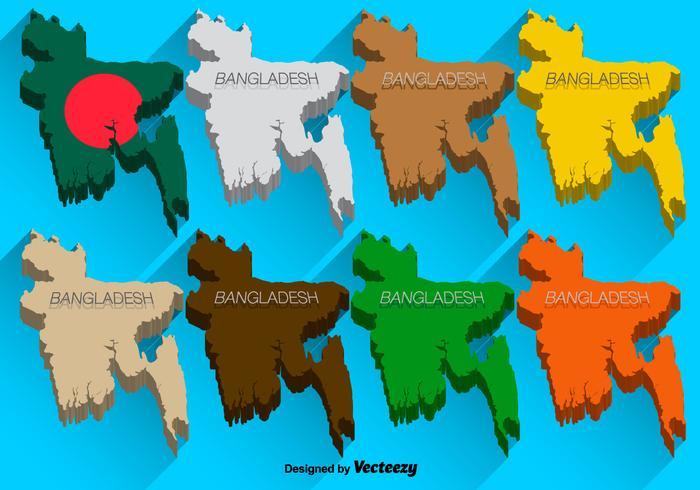 Conjunto 3D de Ícones 3D do Mapa de Bangladesh