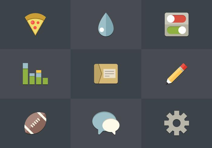 Gratis Flat Icon Set 02 Vector