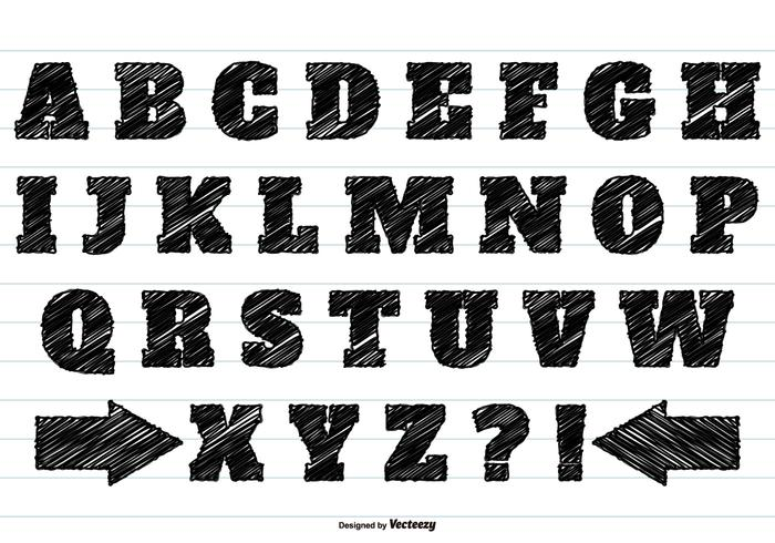 Alfabeto nero Scribble Set
