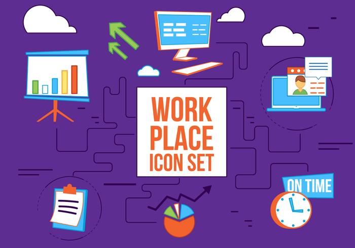 Free Flat Design Vector Work Place Icons