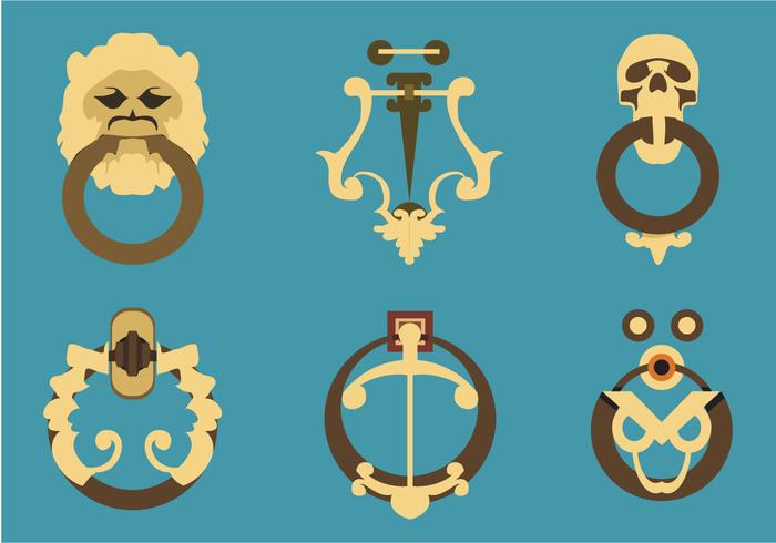 Ornamentales Puerta Knockers Vector