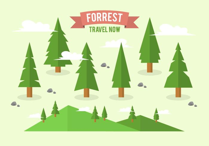 Flat Forrest Tree Background Collection  vector