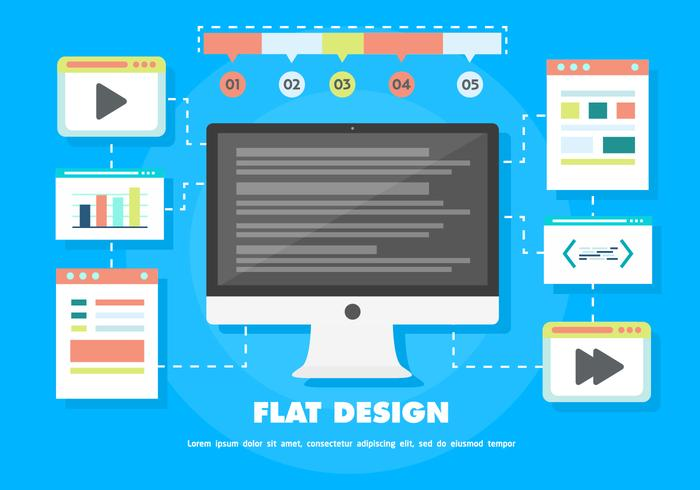Free Flat Digital Marketing Vector Background with Computer
