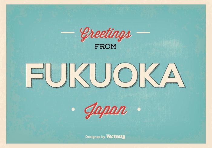 Ilustração retrovindo do cumprimento de Fukuoka Japão