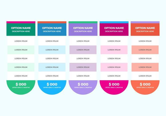 Vector de tabela de preços gratuito
