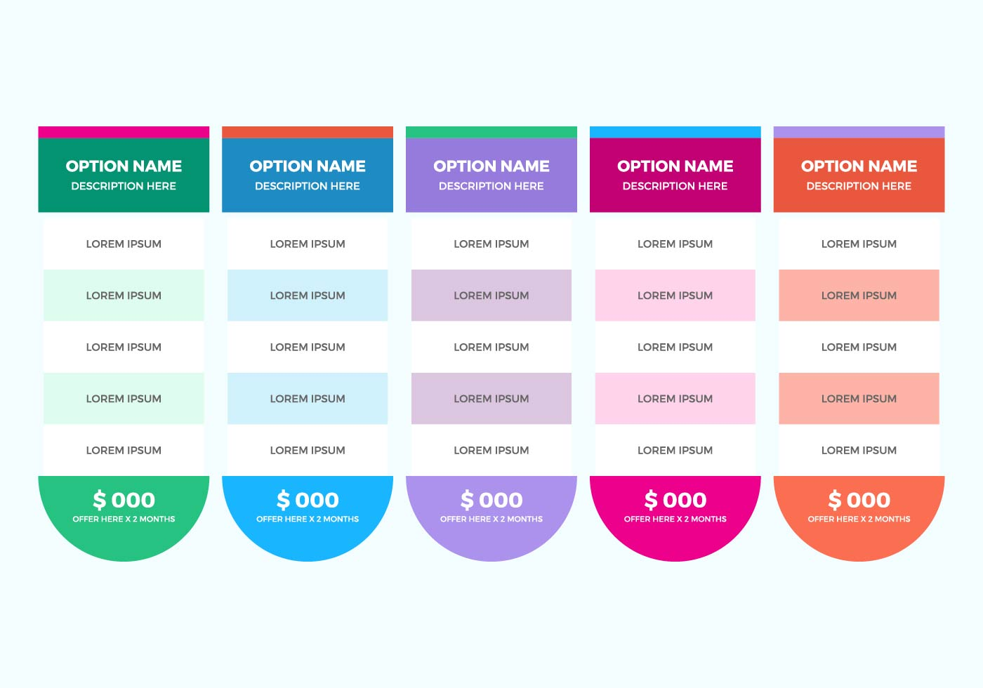 Free Pricing Table Vector Download Free Vectors Clipart