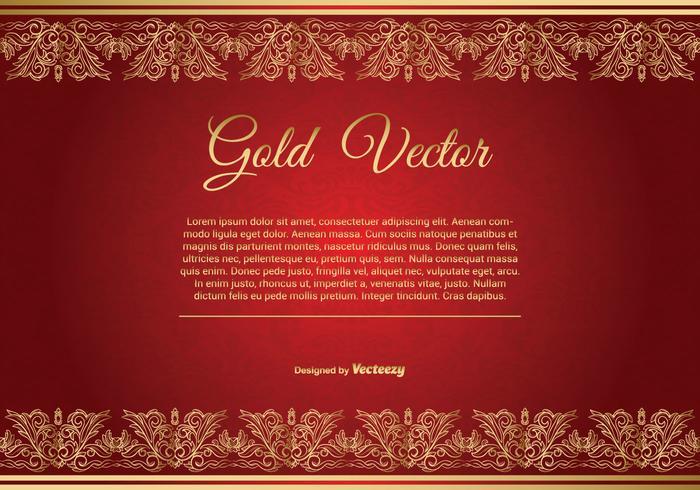Guld och Röd Elegant Bakgrunds Illustration