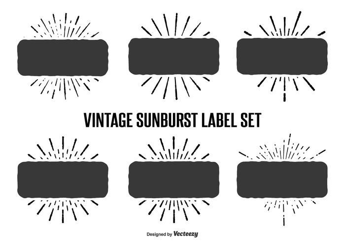Vintage solstråle etikett uppsättning