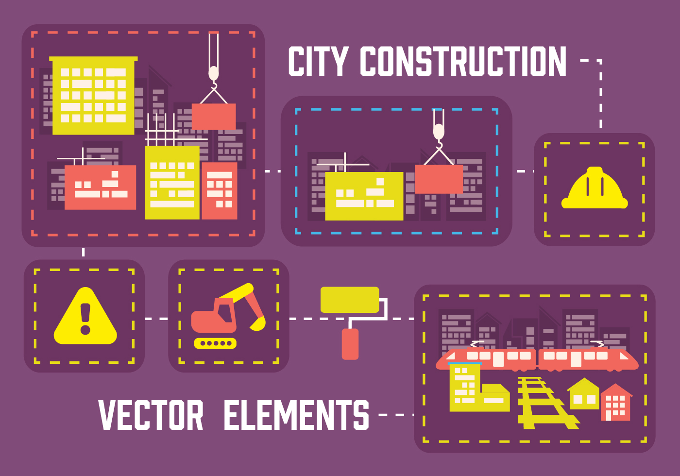 free city construction vector background