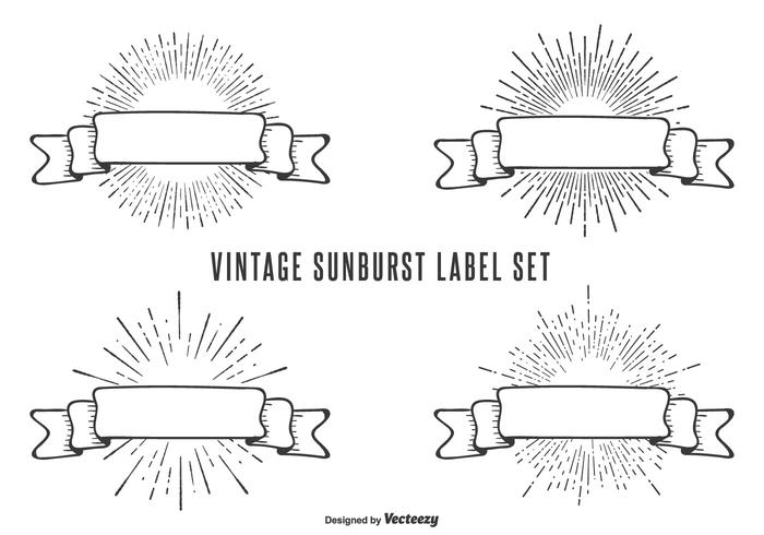 Conjunto de etiquetas vintage Sunburst