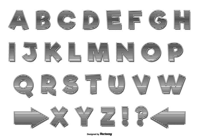 Striped Retro Alphabet Set