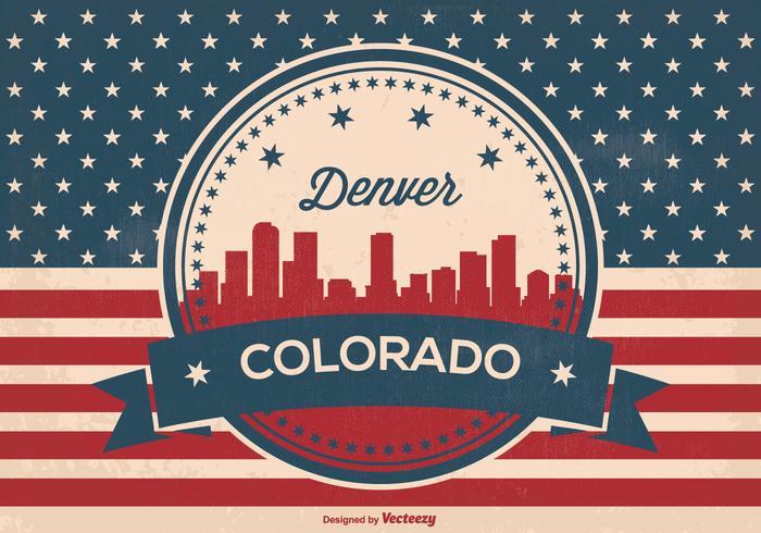 Retro Style Denver Skyline Illustration