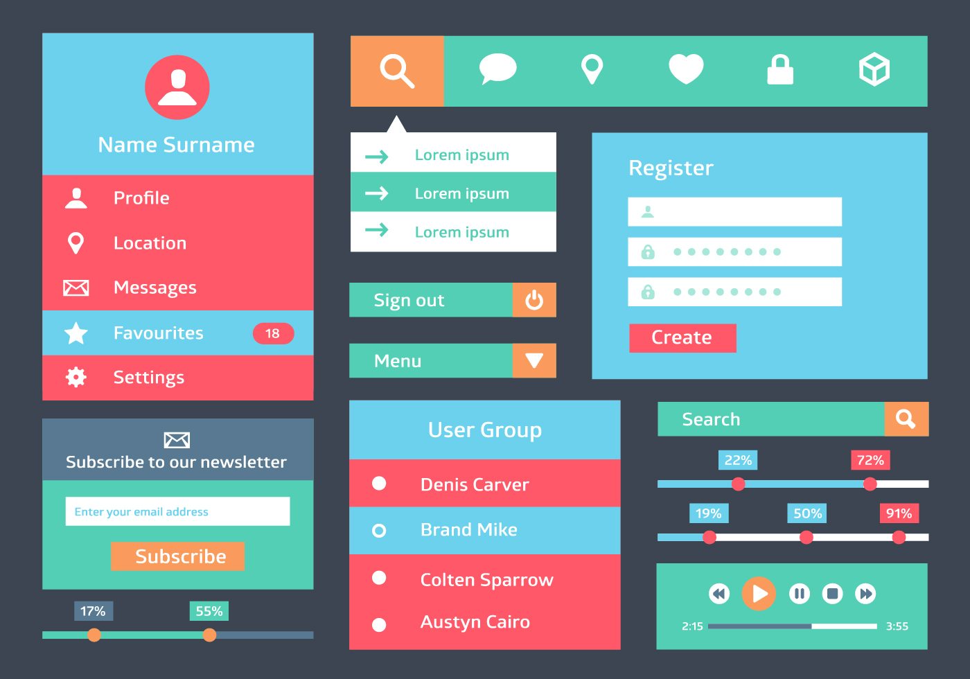 Free Flat Web User Interface Vector Background - Download Free Vector ...