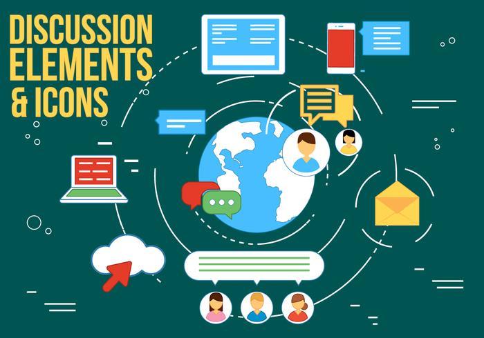 Gratis discussie en webinar vector iconen