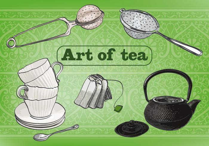 Free Art of Tea Vektor Hintergrund