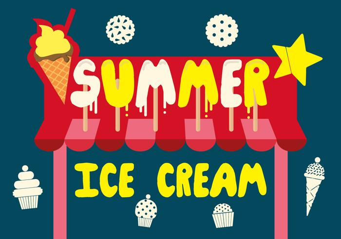 Free Summer Ice Cream Vector Background con tipografia