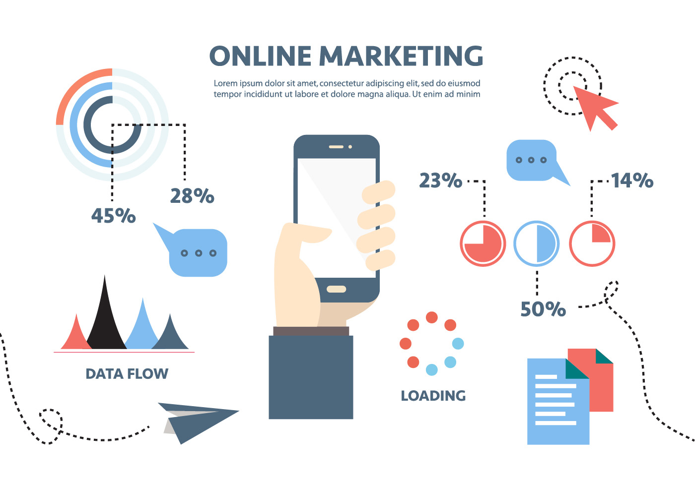 Flat Digital Marketing Vector Background with Touch Screen ...