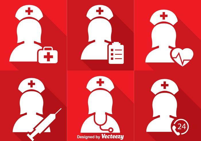 Sjuksköterska vit ikoner