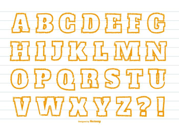 Mignon orange crayon style alphabet