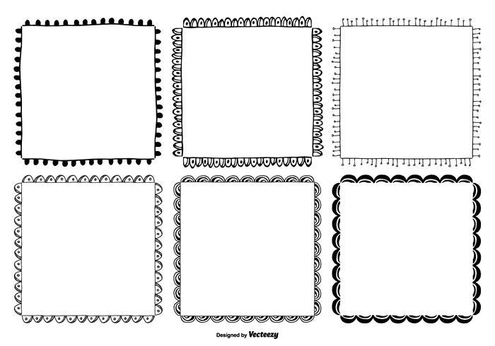 Cute mano dibujado marco de estilo conjunto vector