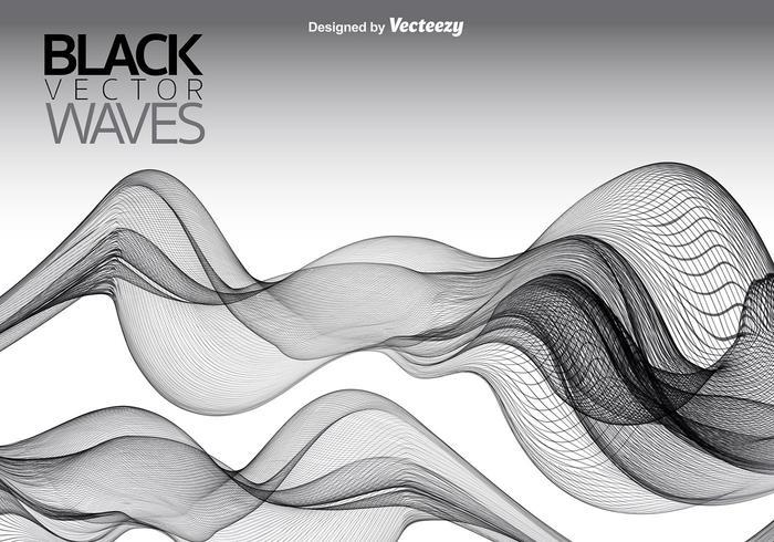 Fondo negro de las ondas lisas del vector