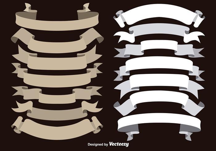 Vector marrón y cintas blancas colección