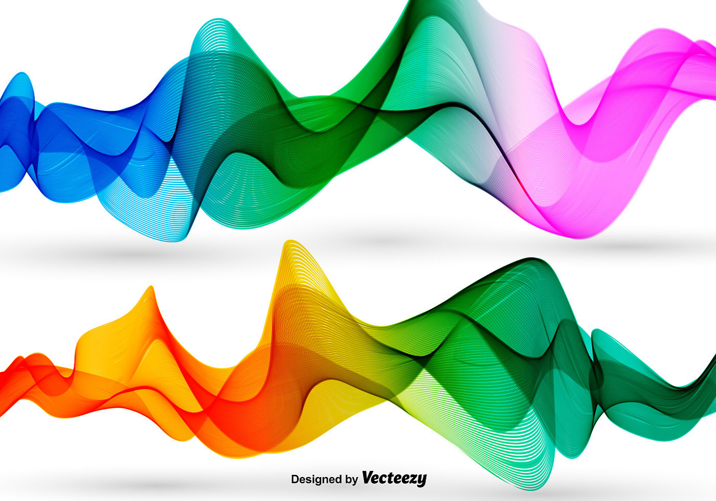 Abstract Volleyball On Colorful Wave Background: Vector Colorful Abstract Waves