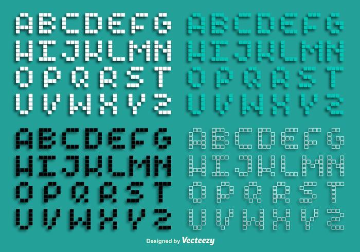 Vektor Pixel Alfabet Set