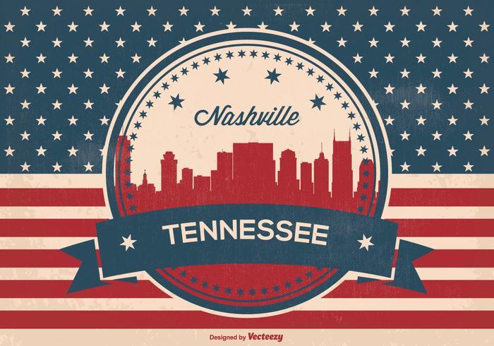 Ilustración retro del horizonte de Nashville
