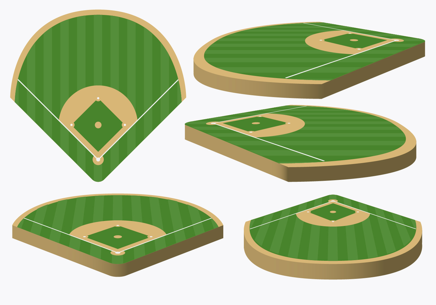 vector baseball diamond from different angles download